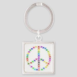 Rainbow Skulls Peace Sign Keychains
