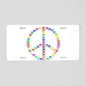 Rainbow Skulls Peace Sign Aluminum License Plate