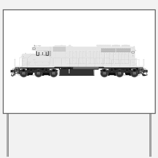 White train drawing Yard Sign