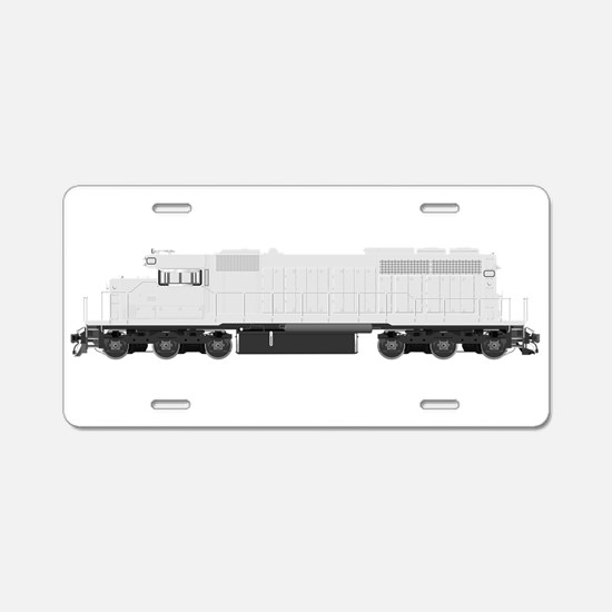 White train drawing Aluminum License Plate