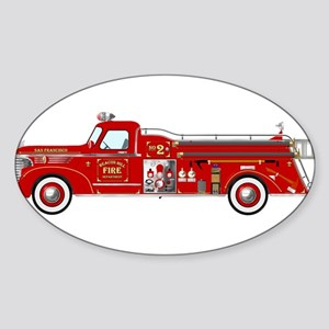 Vintage red fire truck drawing Sticker