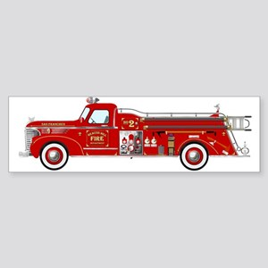 Vintage red fire truck drawing Bumper Sticker