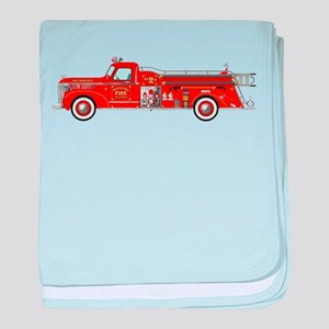 Vintage red fire truck drawing baby blanket