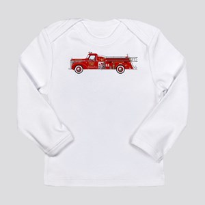 Vintage red fire truck drawing Long Sleeve T-Shirt