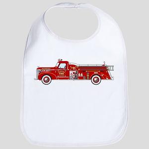 Vintage red fire truck drawing Bib
