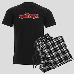 Vintage red fire truck drawing Men's Dark Pajamas