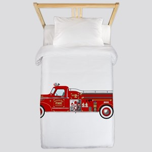 Vintage red fire truck drawing Twin Duvet