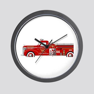 Vintage red fire truck drawing Wall Clock