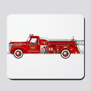 Vintage red fire truck drawing Mousepad
