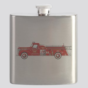 Vintage red fire truck drawing Flask