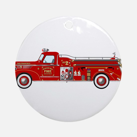 Vintage red fire truck drawing Ornament (Round)