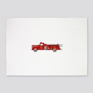 Vintage red fire truck drawing 5'x7'Area Rug