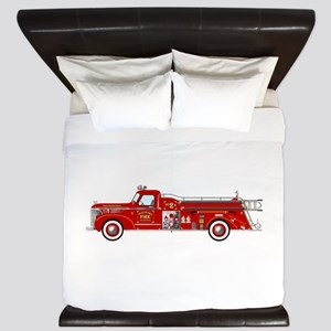 Vintage red fire truck drawing King Duvet
