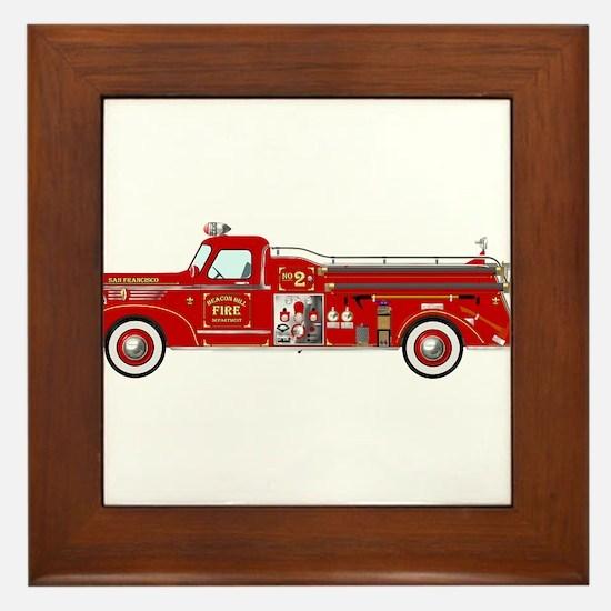 Vintage red fire truck drawing Framed Tile