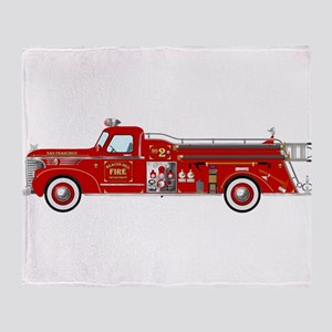 Vintage red fire truck drawing Throw Blanket