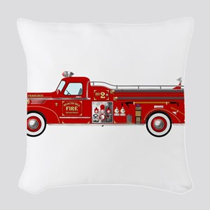 Vintage red fire truck drawing Woven Throw Pillow