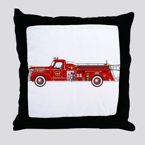 Vintage red fire truck drawing Throw Pillow