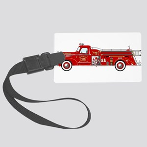 Vintage red fire truck drawing Large Luggage Tag