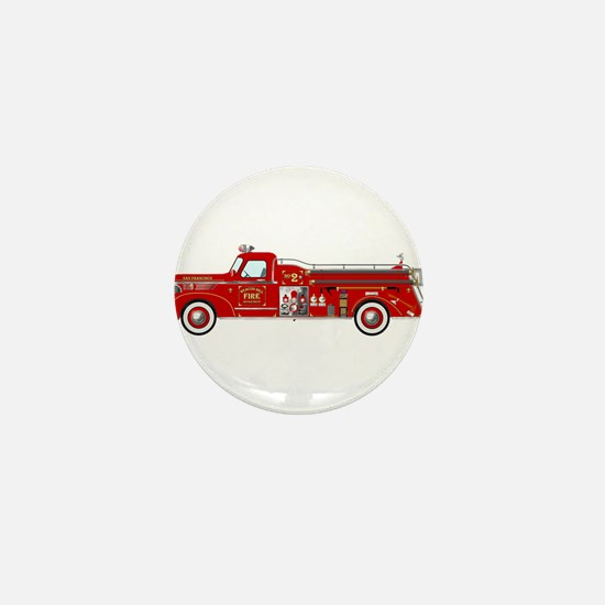 Vintage red fire truck drawing Mini Button