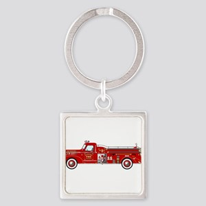 Vintage red fire truck drawing Keychains
