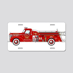 Vintage red fire truck draw Aluminum License Plate