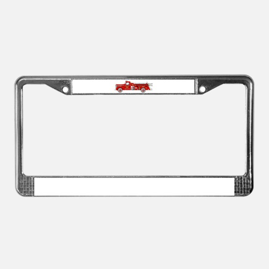 Vintage red fire truck drawing License Plate Frame