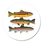 3 Western Trout Round Car Magnet