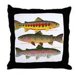 3 Western Trout Throw Pillow