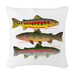 3 Western Trout Woven Throw Pillow