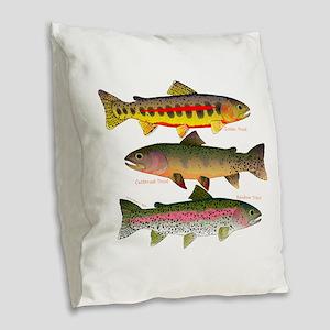 3 Western Trout Burlap Throw Pillow
