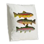 3 Western Trout Burlap Throw Pillow