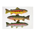 3 Western Trout 5'x7'Area Rug