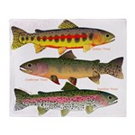 3 Western Trout Throw Blanket