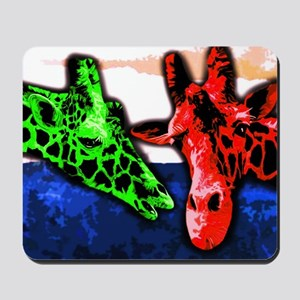 Colorful Painted Giraffes Mousepad