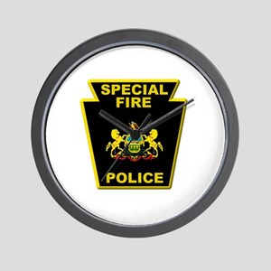 Fire police badge Wall Clock