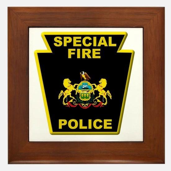 Fire police badge Framed Tile