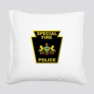Fire police badge Square Canvas Pillow
