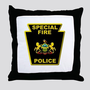 Fire police badge Throw Pillow