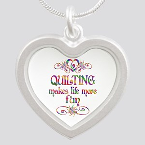 Quilting More Fun Silver Heart Necklace