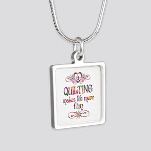 Quilting More Fun Silver Square Necklace