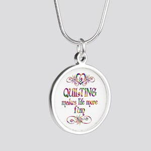 Quilting More Fun Silver Round Necklace