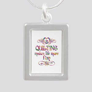 Quilting More Fun Silver Portrait Necklace