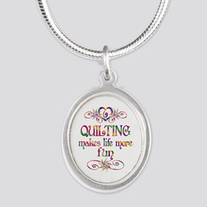 Quilting More Fun Silver Oval Necklace
