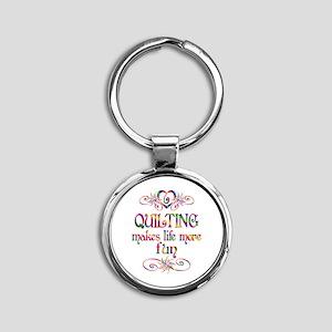 Quilting More Fun Round Keychain