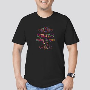 Quilting More Fun Men's Fitted T-Shirt (dark)