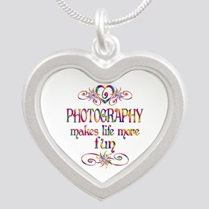 Photography More Fun Silver Heart Necklace