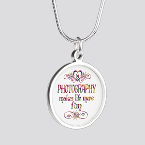Photography More Fun Silver Round Necklace