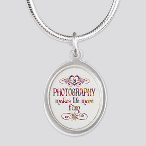Photography More Fun Silver Oval Necklace