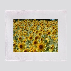 sunflowers in the breeze Throw Blanket