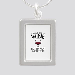 I Could Give Up Wine Silver Portrait Necklace